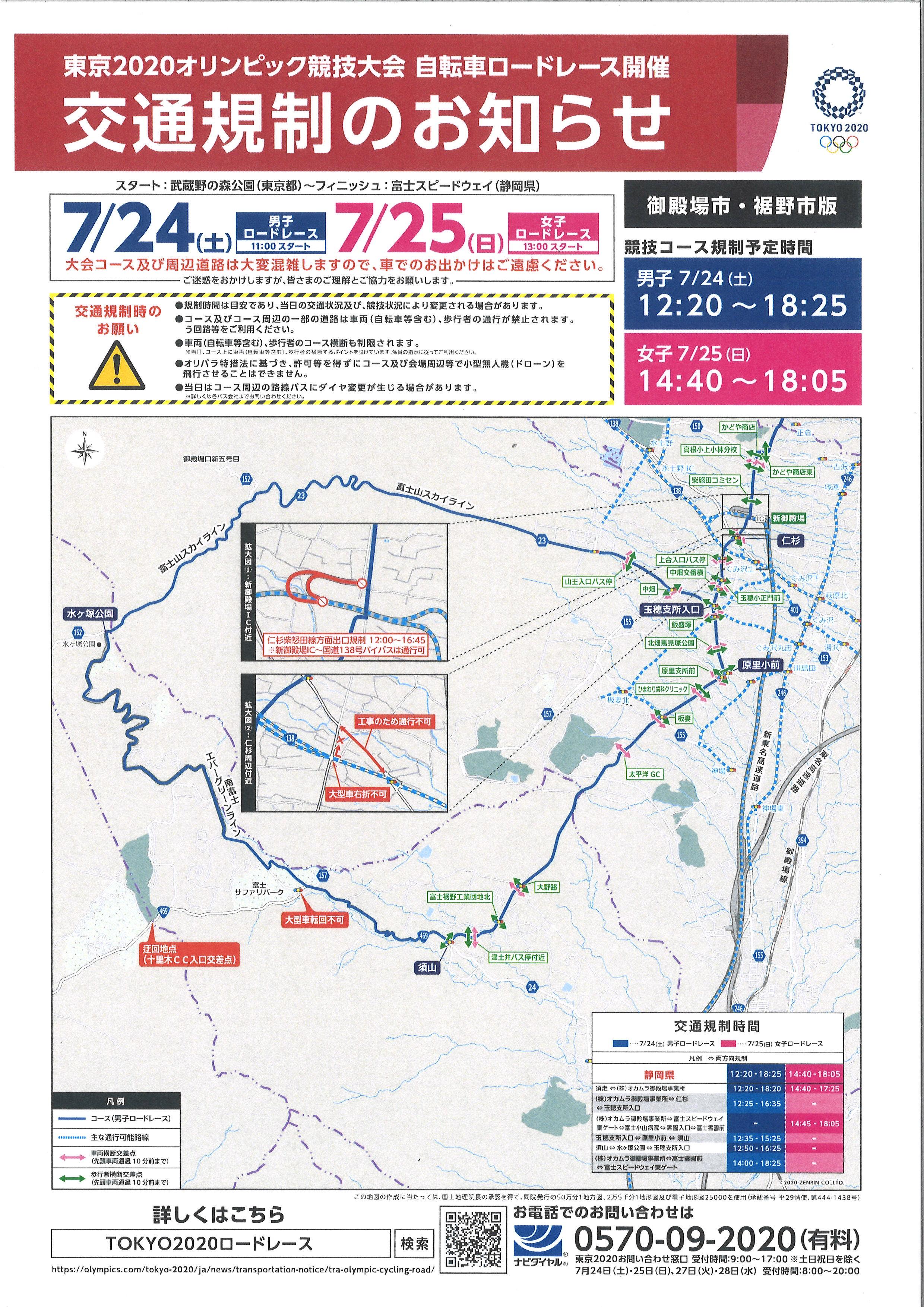 「東京2020オリンピック自転車ロードレース開催に伴う周辺道路規制について